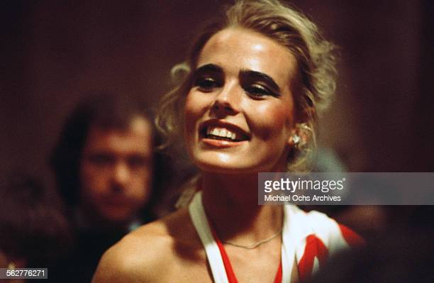 Model Margaux Hemingway arrives to the 48th Academy Awards at Dorothy Chandler Pavilion in Los Angeles,California.