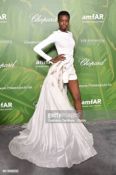 Model Maria Borges attends the amfAR Paris Dinner 2018 at The Peninsula Hotel on July 4 2018 in Paris France