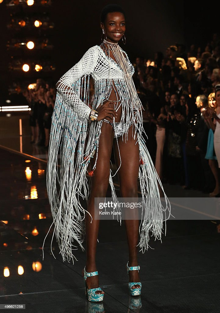 Model Maria Borges from Angola walks the runway during the 2015 Victoria's Secret Fashion Show at Lexington Armory on November 10, 2015 in New York City.