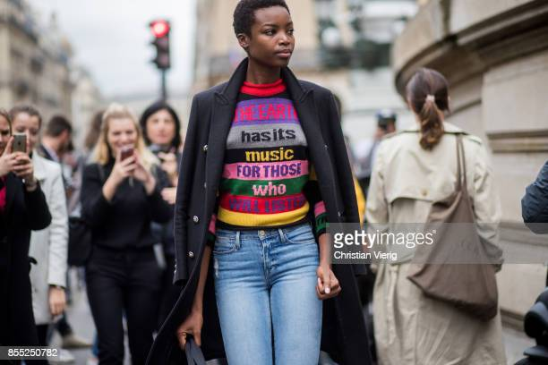 Model Maria Borges is seen outside Balmain during Paris Fashion Week Spring/Summer 2018 on September 28 2017 in Paris France