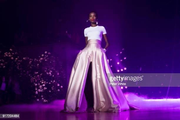 Model Maria Borges walks the runway at Brandon Maxwell Fall Winter 2018 Collection during New York Fashion Week at Appel Room on February 11, 2018 in...
