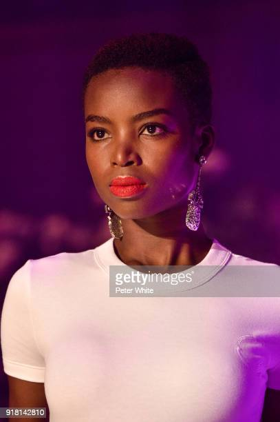 Model Maria Borges walks the runway at Brandon Maxwell Fall Winter 2018 Collection during New York Fashion Week at Appel Room on February 11 2018 in...
