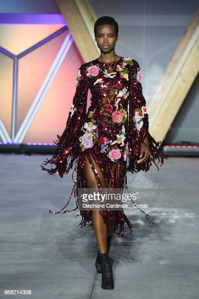 Model Maria Borges walks the runway at Fashion For Relief Cannes 2018 during the 71st annual Cannes Film Festival at Aeroport Cannes Mandelieu on May...