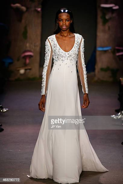 Model Maria Borges walks the runway at the Honor fashion show during MercedesBenz Fashion Week Fall 2015 at Art Beam on February 12 2015 in New York...