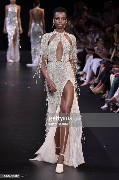 Model Maria Borges walks the runway during the George Hobeika Haute Couture Fall Winter 2018/2019 show as part of Paris Fashion Week on July 2 2018...