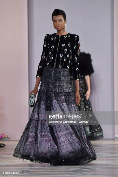 Model Maria Borges walks the runway during the Giorgio Armani Prive Haute Couture Fall/Winter 2019 2020 show as part of Paris Fashion Week on July 02...