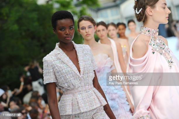 Model Maria Borges walks the runway during the Ralph&Russo Haute Couture Fall/Winter 2019 2020 show as part of Paris Fashion Week on July 01, 2019 in...