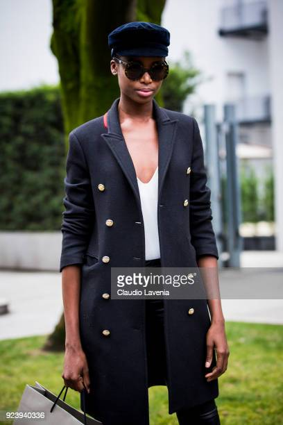 Model Maria Borges wearing a navy coat is seen outside Giorgio Armani show during Milan Fashion Week Fall/Winter 2018/19 on February 24 2018 in Milan...