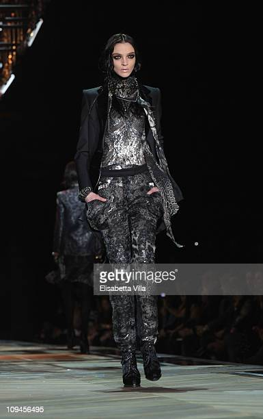 Model Maria Carla Boscono walks the runway during the Roberto Cavalli Fashion Show as part of Milan Fashion Week Womenswear Autumn/Winter 2011 on...
