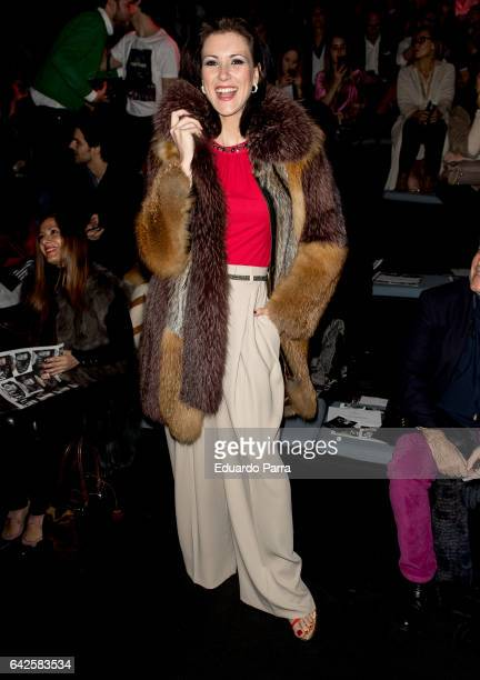 Model Maria Jesus Ruiz attends the front row of Moises Nieto show during Mercedes Benz Fashion Week Madrid Autumn / Winter 2017 at Ifema on February...