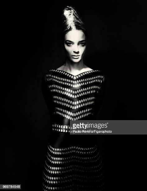 Model Mariacarla Boscono poses at a fashion shoot for Madame Figaro on October 13, 2017 in Paris, France. Clothing by Azzedine Alaia Couture....