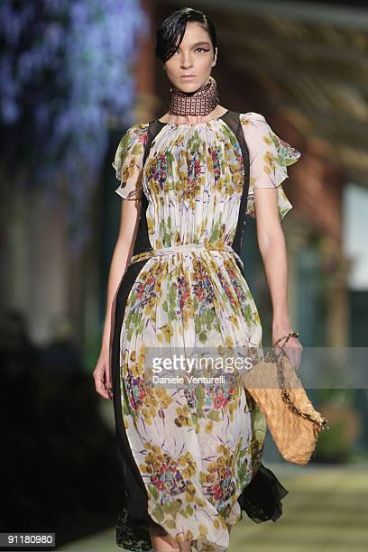 Model Mariacarla Boscono walks down the runway during the Roberto Cavalli show as part of Milan Womenswear Fashion Week Spring/Summer 2010 at on...