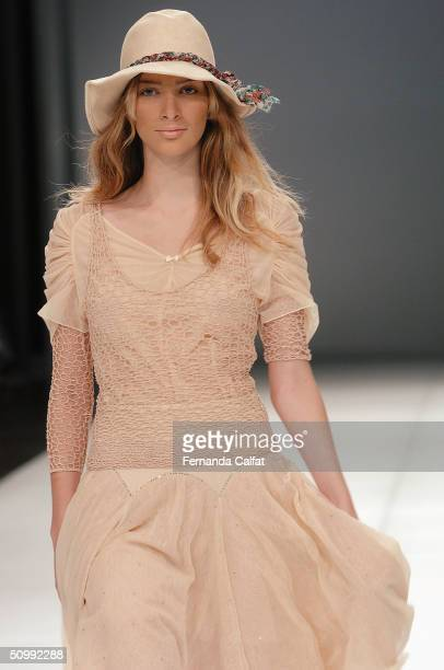 Model Mariana Marchi walks the runway at the Patachou 2005 Spring/Summer collection during the Sao Paulo Fashion Week June 17 2004 in Sao Paulo Brazil