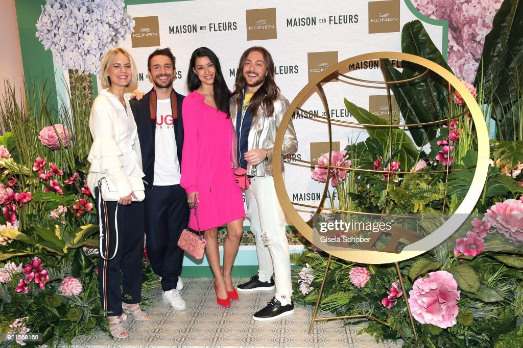 Model Mariana, Max Alberti, Rebecca Mir, Riccardo Simonetti Rebecca Mir during the 'Maison des Fleurs' photo session at KONEN on February 20, 2018 in Munich, Germany.