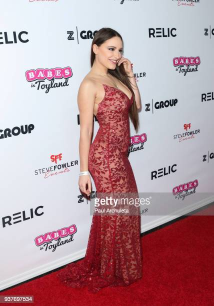 Model Marie Brethenoux attends the 4th annual 'Babes In Toyland' Pet Gala benefiting 'Operation Blankets Of Love' at Avalon on March 21 2018 in...