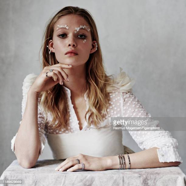 Model Marie Lucassen is photographed for Madame Figaro on November 27 2018 in Paris France Dress blouse earrings rings cuff PUBLISHED IMAGE CREDIT...