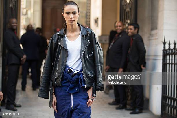 Model Marie Meyer exits the Haider Ackermann show in hair and makeup on June 24 2015 in Paris France