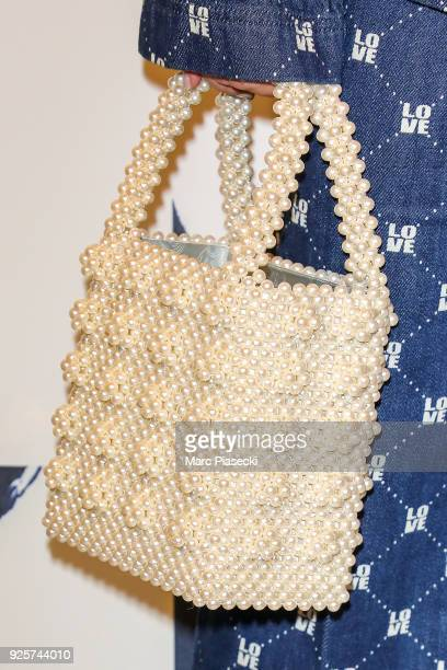 Model MarieAnge Casta handbag detail attends the HM show as part of the Paris Fashion Week Womenswear Fall/Winter 2018/2019 on February 28 2018 in...