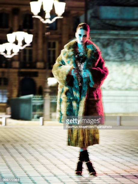 Model Marina Salaet poses at a fashion shoot for Madame Figaro on November 16 2017 in Paris France Coat and top by Sonia Rykiel skirt by Mes...
