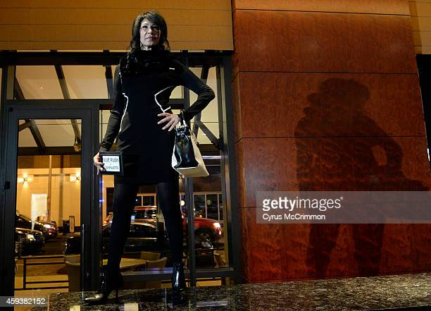 Model Marina wears Blue Ruby and Scarpaletto at the Larimer Square Winter Fashion Show which was held at The Edge Restaurant and Bar at the Four...