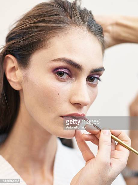 Model Marine Deleeuw poses prior the Nina Ricci show as part of the Paris Fashion Week Womenswear Spring/Summer 2017 on October 1 2016 in Paris France