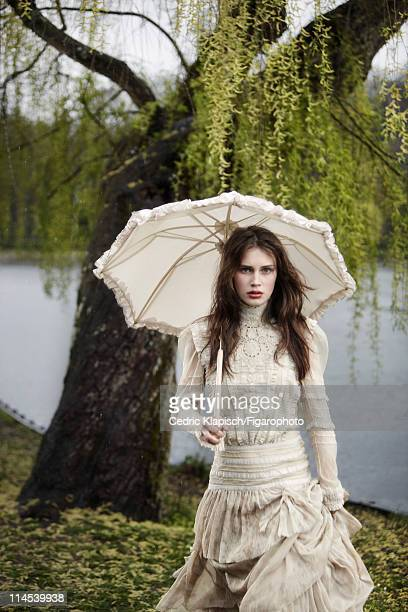 Model Marine Vacth is photographed for Madame Figaro on March 29 2011 in Villed'Avray France Published image Figaro ID 100351031 Dress by Ralph...