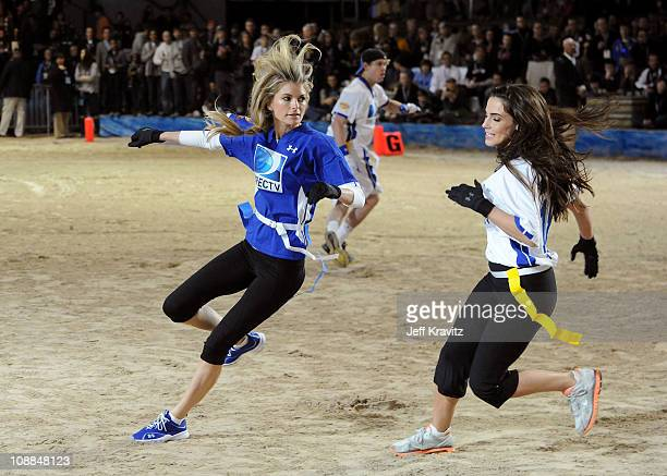Model Marisa Miller and actress Jessica Lowndes compete during DIRECTV's Fifth Annual Celebrity Beach Bowl at Victory Park on February 5 2011 in...