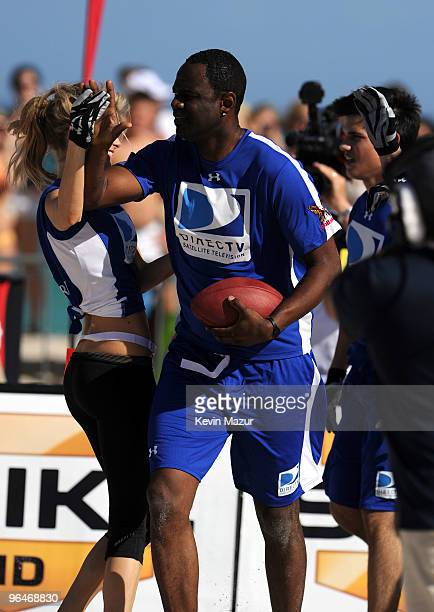 Model Marisa Miller and Singer Brian McKnight attend DIRECTV's 4th Annual Celebrity Beach Bowl on February 6 2010 in Miami Beach Florida