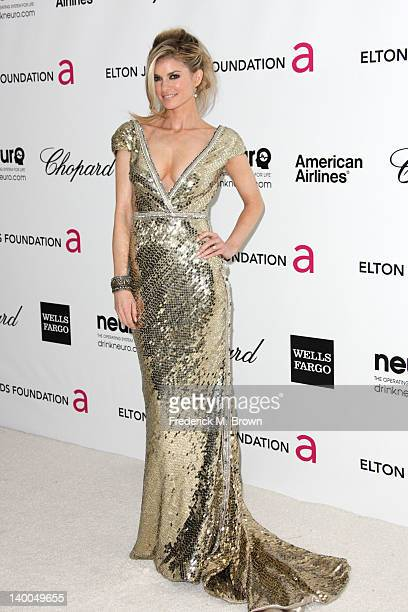 Model Marisa Miller arrives at the 20th Annual Elton John AIDS Foundation's Oscar Viewing Party held at West Hollywood Park on February 26 2012 in...