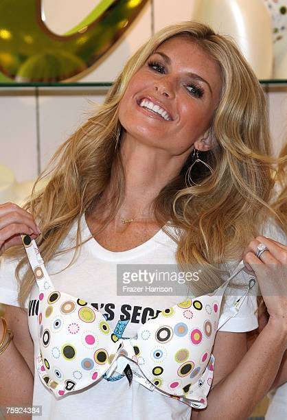 Model Marisa Miller celebrates the launch of the Body By Victoria fullcoverage uplift Bra at Victoria's Secret store The Grove on August 1 2007 in...