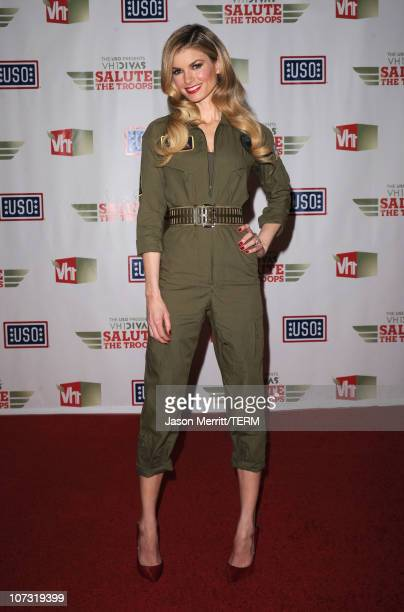 """Model Marisa Miller poses in the press room during """"VH1 Divas Salute the Troops"""" presented by the USO at the MCAS Miramar on December 3, 2010 in..."""