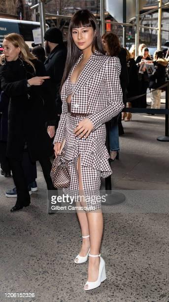 Model Mariya Nishiuchi is seen arriving to the Michael Kors FW20 Runway Show on February 12, 2020 in New York City.