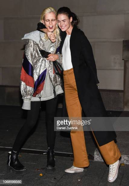 Model Marjan Jonkman and Vanessa Moody are seen wearing outside the Chanel Metiers D'Art 2018/19 show at the Metropolitan Museum of Art on December 4...