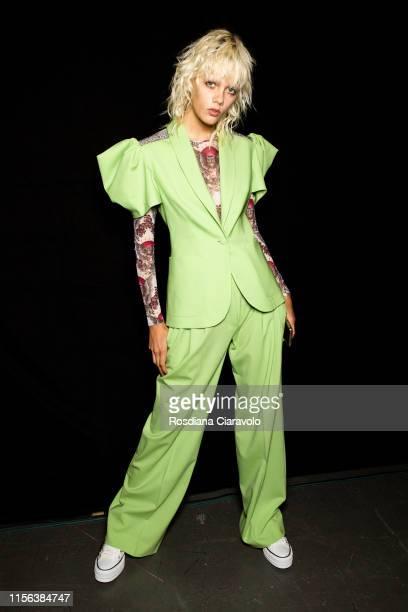 Model Marjan Jonkman at the John Richmond backstage during the Milan Men's Fashion Week Spring/Summer 2020 on June 16, 2019 in Milan, Italy.
