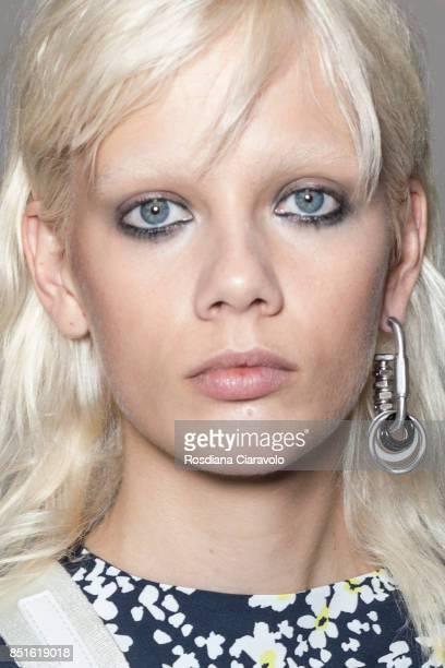 Model Marjan Jonkman is seen ahead of the backstage Sportmax show during Milan Fashion Week Spring/Summer 2018 on September 22, 2017 in Milan, Italy.