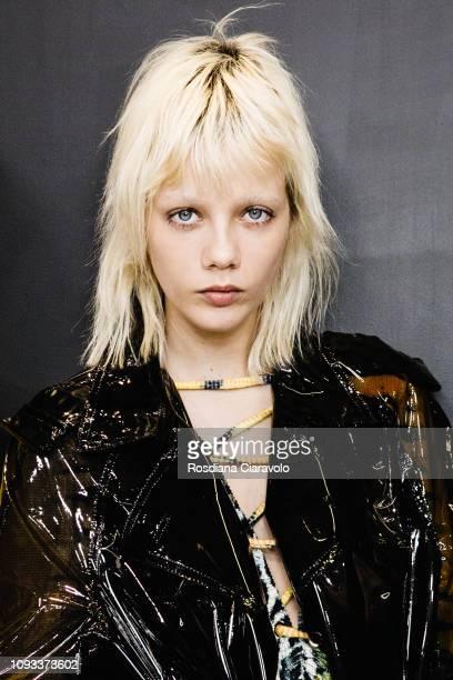 Model Marjan Jonkman is seen backstage ahead of the Neil Barrett show during Milan Menswear Fashion Week Autumn/Winter 2019/20 on January 12, 2019 in...