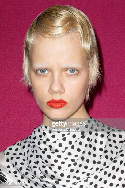Model Marjan Jonkman is seen backstage at the MSGM fashion show on February 22 2020 in Milan Italy