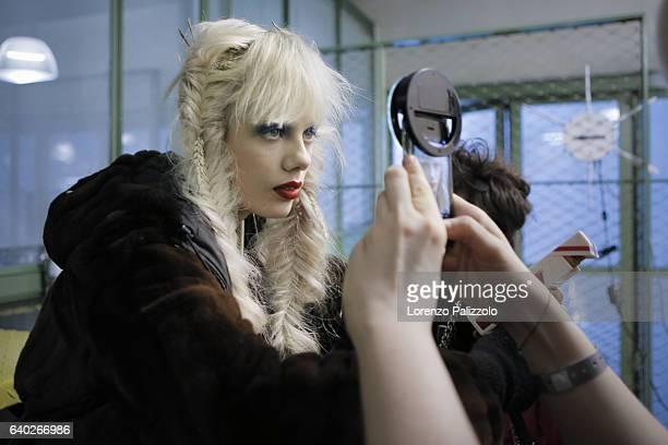 Model Marjan Jonkman poses Backstage prior the Jean Paul Gaultier Fashion Week on January 25, 2017 in Paris, France.