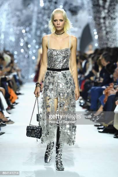 Model Marjan Jonkman walks the runway during the Christian Dior show as part of the Paris Fashion Week Womenswear Spring/Summer 2018 on September 26...