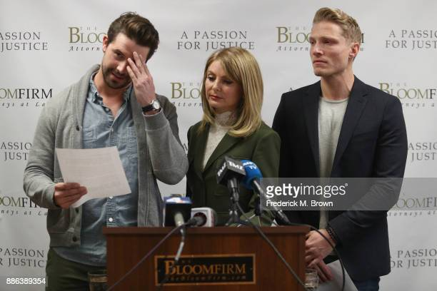 Model Mark Ricketson speaks during a press conference with his attorney Lisa Bloom and model Jason Boyce who are accusing photographer Bruce Weber of...
