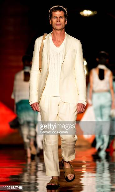 Model Mark Vanderloo walks the runway at the Pedro del Hierro fashion show during the Mercedes Benz Fashion Week Autumn/Winter 20192020 at the...