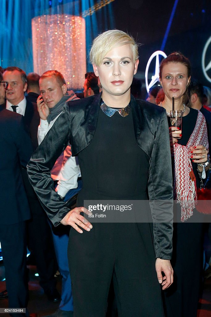 Model Markus Kenzie poses at the Bambi Awards 2016 party at Atrium Tower on November 17, 2016 in Berlin, Germany.