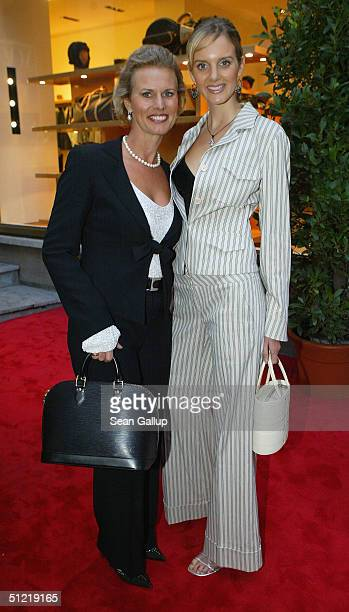 Model Marlene Landauer wearing a suit from Max Mara and her mother actress Adele Landauer attend the Louis Vuitton 150th anniversary reception at the...