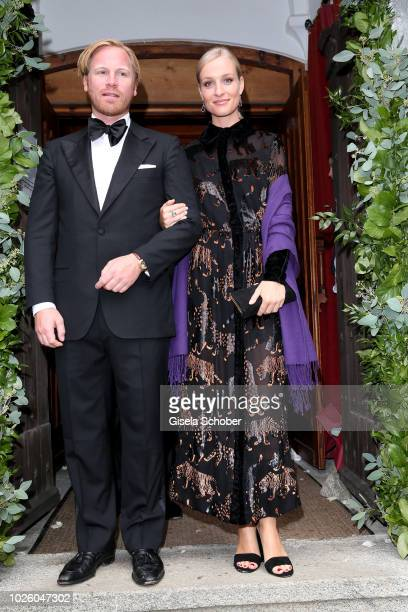 Model Marlies Pfeifhofer during the wedding of Prince Konstantin of Bavaria and Princess Deniz of Bavaria born Kaya at the french church 'Eglise au...
