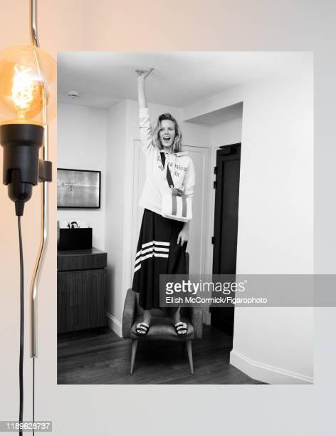 Model Marlijn Hoek is photographed for Madame Figaro on December 14, 2017 in Paris, France. Sweatshirt , dress , earring , bag , sandals . PUBLISHED...