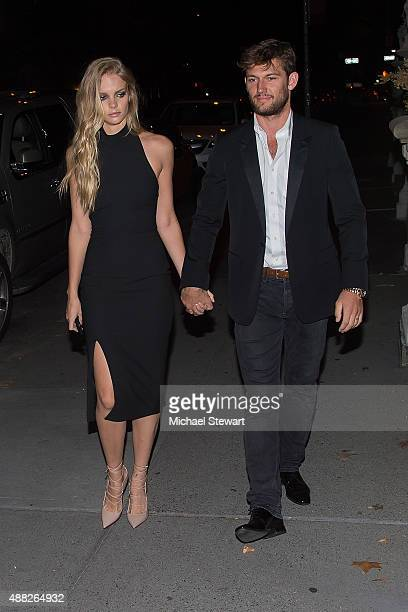 Model Marloes Horst and actor Alex Pettyfer are seen on the Upper East Side on September 14 2015 in New York City