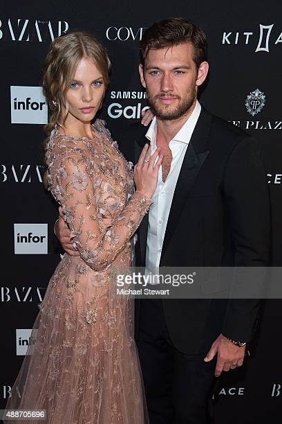 Model Marloes Horst and actor Alex Pettyfer attend the 2015 Harper's BAZAAR ICONS Event at The Plaza Hotel on September 16 2015 in New York City
