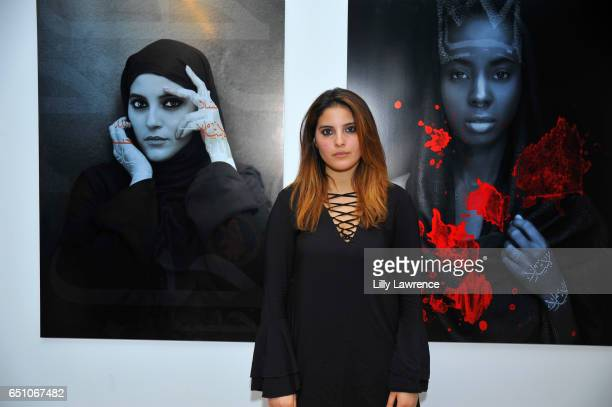 Model Maroua Baaboura attends Karen Bystedt's 'Kings And Queens' exhibition on March 9 2017 in Los Angeles California