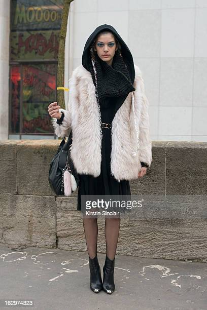 Model Marta Ortiz poses on day 2 of Paris Womens Fashion Week Autumn/Winter 2013 on March 1 2013 in Paris France