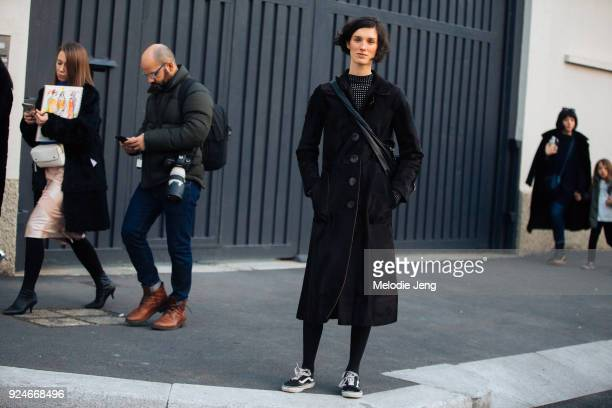 Model Marte Mei Van Haaster after Missoni during Milan Fashion Week Fall/Winter 2018/19 on February 24 2018 in Milan Italy
